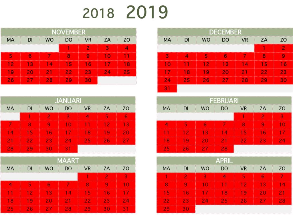 Beschikbaarheid winter 2018-2019